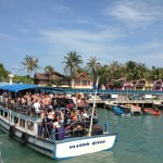 Arriving at Haad Rin pier.  Sure, we could have fit a few more tourists.